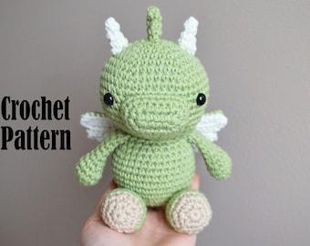 Crochet Amigurumi Pattern: Phoenix the Baby Dragon, Crochet Dragon, Stuffed Animal