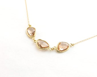 Champagne Three Stone Necklace In 14kt Gold Filled, Delicate Peach Necklace, 3 Stone Necklace