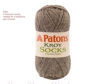 FLAX. A Brown/ Gray heather sock yarn. Patons Kroy Socks is a super fine sock knitting yarn. Washable Wool blend sock yarn. Wool sock yarn <
