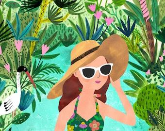 Pool Girl...Giclee print of an original illustration