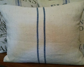 "Antique Hand-Woven Grain Sack 12""x16"" Two blue stripes Pillow Cover"