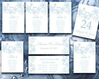 Winter Wedding Seating Chart Template - Snowflake Wedding Winter Wonderland Table Number - Capri Silver Wedding Download - Christmas Wedding