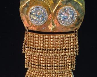 "SONIA RYKIEL big pendant in gold form ""OWL"""