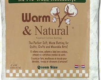 "Warm & Natural Cotton Batting - Queen Size 90"" x 108"" - 2341WN"