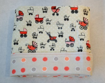 Reversible Flannel Baby Blanket - Pink Perambulator