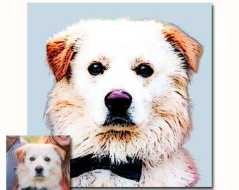 Custom Pet portrait with natural colors - personalized dog illustration - pet art - gift for pet owner - Custom Dog Portrait - Pet Memorial