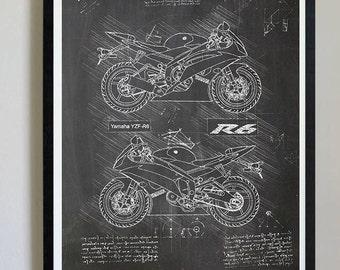 Motorcycle art etsy yamaha yzf r6 2013 da vinci sketch yamaha artwork blueprint specs malvernweather Images