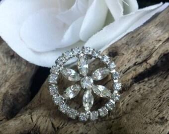 Rhinestone brooch/wedding brooch/silver brooch/silver tone brooch/for the bride/bridal brooch/silver rhinestone brooch/gifts for the bride