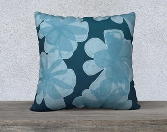Indigo Blu Flower Pillow Case, Decorative Pillows, Sofa Pillows
