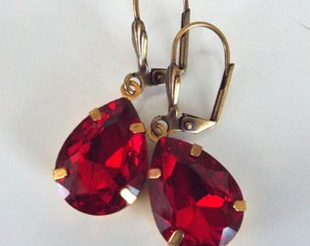 Bright Red Rhinestone Antiqued Gold Leverback Faceted Glass Earrings