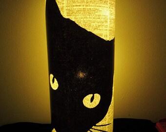 Black Cat Lantern No.69, Night Light Lamps, Dictionary Art, Librarian Gifts