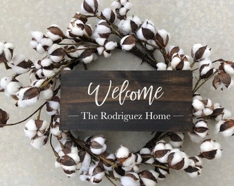 Small Handmade Wood Sign for Wreath / Front Door Sign / Welcome / Custom Last Name Sign / Mini Welcome Sign (Wreath NOT Included)