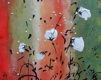 """Painting """" White Poppies on a green and red ground"""""""