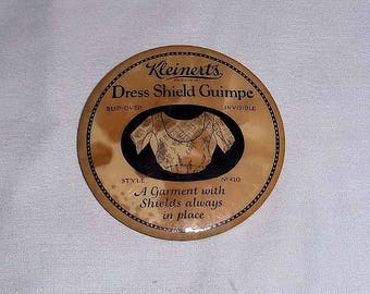 Vintage Early 1900's Kleinerts Dress Shield Guimpe Celluloid Advertising Mirror - Lucke Badge and Button Co.