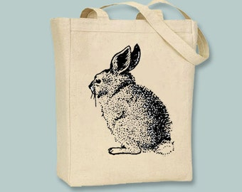 Vintage Bunny illustration on Canvas Tote with shoulder strap - Selection of sizes available
