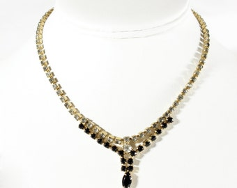 Vintage 1950s Black Rhinestone Necklace