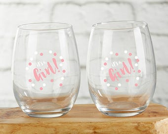 It's a Girl 15 oz. Stemless Wine Glass (Set of 4) - Baby Shower Wine Glass - Baby Shower Party Favors - Baby Girl Favors ( 30023NA-GRL2)