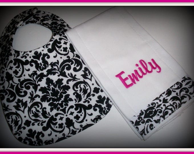 Baby girl damask  monogrammed handmade bib and burp cloth set - Baby girl shower gift -  personalized bib - Monogrammed baby set -damask bib