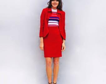 Red Skirt Suit, Vintage Skirt Suit, Vintage Suit, Womens Suit, Louis Feraud Suit, Red Skirt Set, Vintage Ladies Suit, Office Suit, Red Wool