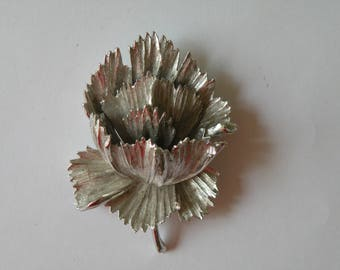 Signed Art silver plated flower brooch