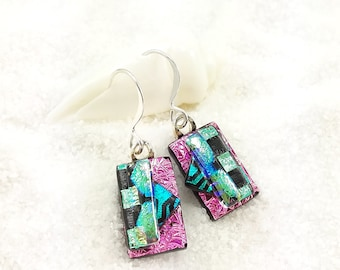 Dichroic glass Earrings, Fused glass jewelry, dichroic handmade jewelry, pink earrings, glass jewelry, dichroic glass beads, glass fusion