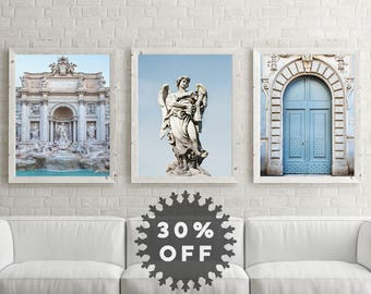 "SALE Rome Print Set, Italian Wall Art Prints, Rome Photography, Living Room Wall Decor, Travel Posters ""Blue in Rome"""