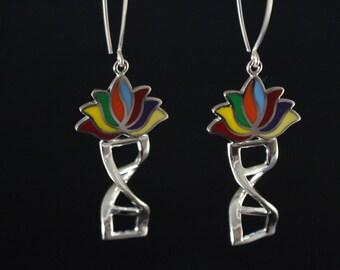 DNA double helix lotus blossom chakra energy dangle sterling silver earrings
