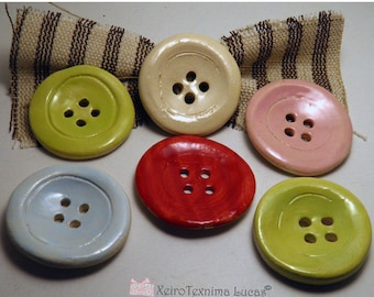 """2 Pcs Handmade Round Ceramic Buttons 5cm (2"""") Ornaments - Decoration for Hats - Buttons for Jewelries - Sewing Supplies DIY"""