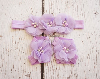 baby barefoot sandals and headband set, lavender baby headband, purple baby headband and sandal set, baby girl headbands