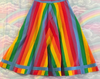Vintage Rainbow Polka Dot Striped Full Circle Skirt Midi