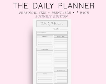 Personal Size Business Daily Planner, Daily Planner Printable, Daily Planner Pages, Daily Planner Inserts, Everyday Planner, Diy Planner