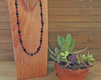 Beaded Necklace (black, red, blue, silver beads)