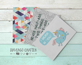 Fun and inspirational quote postcards / notecards - series 8. I believe in you unicorn, Ron Swanson quote half-ass, Thank you geometric card