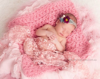 Cotton Candy Pink Newborn Baby Blanket Photography Prop