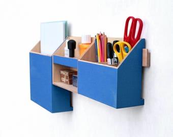 Wall Organizer Blue, Mail organizer, Wall Office Paper organizer, Modern pen holder, Office Storage set, Desk organizer, Fathers day gift