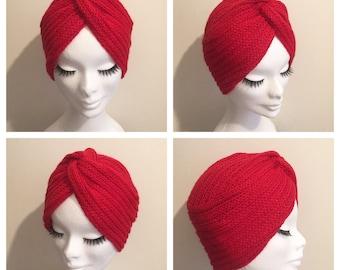 Lipstick Red DIVA TURBAN Winter Collection Vintage Inspired handknitted Turban 100% Alpaca Wool