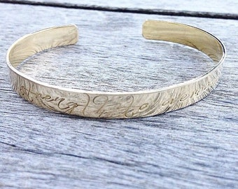 """Jackson """"Strength to Overcome"""" Inspirational Cuff Bracelet - (Available in sterling silver, brass, or copper)"""