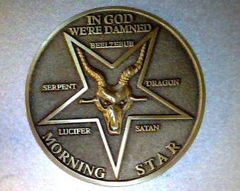 Lucifer Moloch variety, solid bronze coin, high detailed laser cut mold process