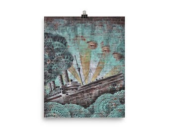 Wall Graffiti Ship fantasy Poster 8x10""
