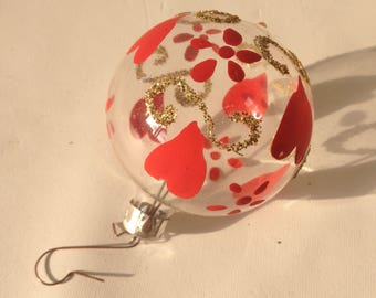 Vintage Christmas tree ball with hearts, gold transparent, red gold, beautiful