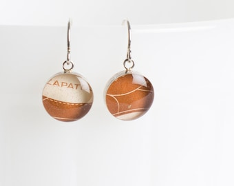 Drop earrings | Postage stamp | Mexico | Brown | Dangle | Shoe