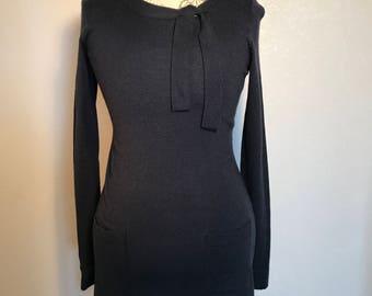 Vintage 90s Blue Sweater Dress 60s Inspired Navy Blue Mini Sweater Dress Sz S