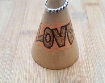 Mental Health Awareness Love Bohemian Wood Ring Holder Wood Ring Cone