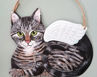 Tabby Cat Angel Art - Cat Wall Art - Original Cat Art - Garden Art - Cat Sign - Cat Folk Art - Cat Memorial - Cat Yard Art