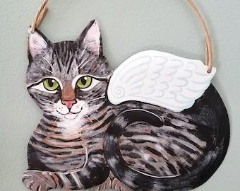 Tabby Cat Angel Art - Cat Yard Art - Cat Wall Art - Original Cat Art - Garden Art - Cat Sign - Cat Folk Art - Cat Memorial