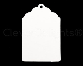 """50 Small Kraft Gift Tags 2.25"""" x 1.5"""" - White Scalloped Hang Tag - For Gifts, Crafts, Party Favors, Price Tags - Small - 2 1/4 x 1 1/2 inch"""