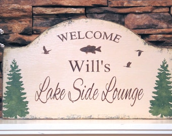 LAKE HOUSE rustic cabin sign Personalized shabby cottage rustic chic, cabin decor, lakeside lounge, wooden hand painted sign