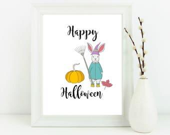 Happy Halloween print, Autumn decor, home decor, bunny print, halloween print, halloween decor, autumn wall art