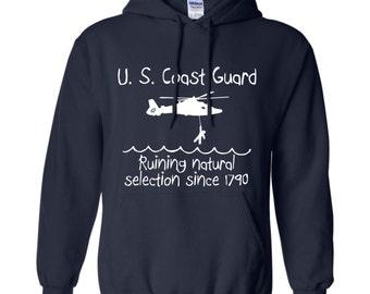 "U.S. Coast Guard - ""Natural Selection"" Heavy Cotton Hooded Sweatshirt!"