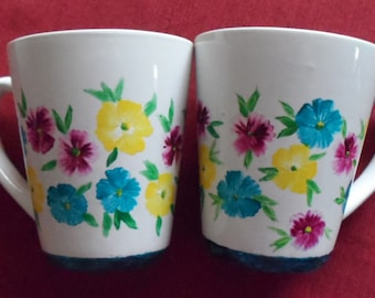 Flower Cups Spring Flower Cups Hand Painted Flowers Flower Coffee Cups Spring Flower Coffee Mugs Set of 2